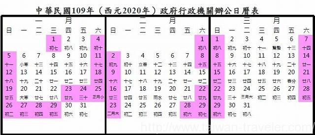 2020年春節カレンダー
